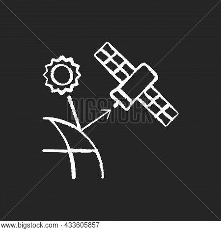 Remote Sensing Satellite Chalk White Icon On Dark Background. Digital Earth Conceptualization. Plane