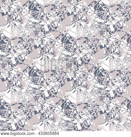 Abstract Marbling Weave Texture. Pink Grey Vector Seamless Pattern Background. Backdrop With Interwo