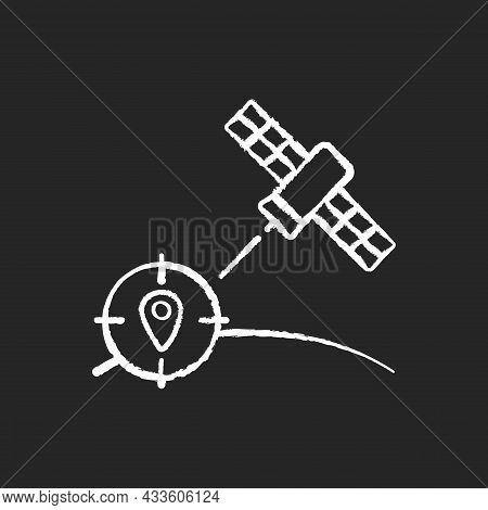 Navigation Satellite Chalk White Icon On Dark Background. Artificial Satellite-based Radionavigation