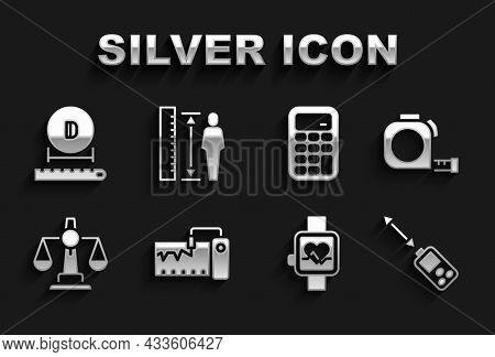 Set Measuring Instrument, Roulette Construction, Laser Distance Measurer, Smart Watch, Scales Of Jus