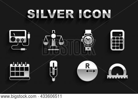 Set Medical Thermometer, Calculator, Protractor, Radius, Calendar, Wrist Watch, Multimeter, Voltmete