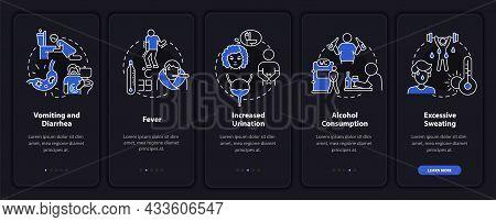 Dehydration Causes Dark Onboarding Mobile App Page Screen. Body Water Deficit Walkthrough 5 Steps Gr