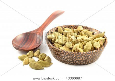 Cardamom Seeds On A White Background