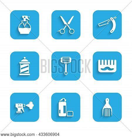 Set Shaving Razor, Gel Foam, Barrette, Hairbrush, Hairdresser Pistol Spray Bottle, Barber Shop Pole,