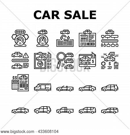 Used Car Sale Automobile Service Icons Set Vector. Used Car Import And Selling, Checking Vine Code A