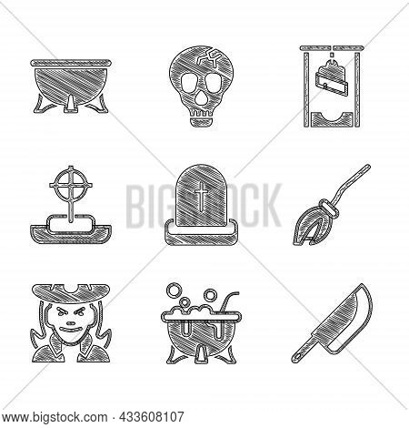 Set Tombstone With Rip Written, Halloween Witch Cauldron, Knife, Witches Broom, Cross, Guillotine An