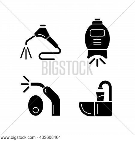 Going To Dentist Black Glyph Icons Set On White Space. Moistening Patient Mouth. Teeth Whitening Mac
