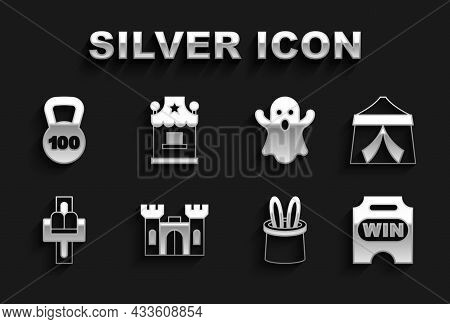 Set Castle, Circus Tent, Ticket, Magician Hat And Rabbit Ears, Attraction Carousel, Ghost, Weight An