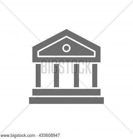 Justice Court Or Bank Building Grey Icon.