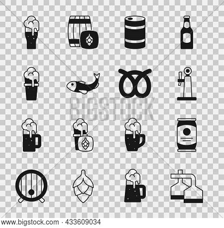 Set Beer Brewing Process, Can, Tap, Metal Beer Keg, Dried Fish, Glass Of, And Pretzel Icon. Vector