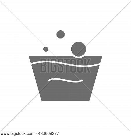 Washing Instruction, Rinsing Grey Icon. Isolated On White Background