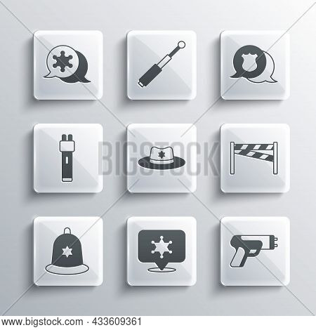 Set Hexagram Sheriff, Police Electric Shocker, Crime Scene, Sheriff Hat With Badge, British Police H