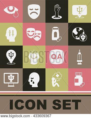 Set Sedative Pills, Addiction To The Drug, Psychology, Psi, Helping Hand, Comedy Tragedy Masks, Solu