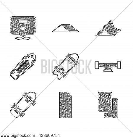 Set Longboard Or Skateboard, Grip Tape, Knee Pads, Skateboard Wheel, Deck, Park And T Tool Icon. Vec