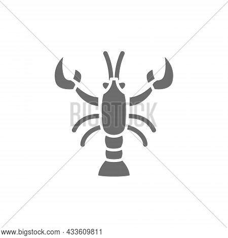 Crayfish, Crawfish, Lobster Grey Icon. Isolated On White Background