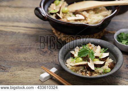 Japanese Matsutake Gohan( boiled rice with matsutake mushrooms )