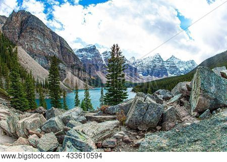 Canadian Rockies. Magnificent mountain lake Moraine. The glacial lake is fed by glacier melt water and is located in the Valley of the Ten Peaks. Travel to northern Canada