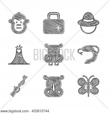 Set Hippo Or Hippopotamus, Rhinoceros, Butterfly, Snake, Hunting Gun, Volcano Eruption, Camping Hat