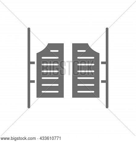 Saloon Door Grey Icon. Isolated On White Background