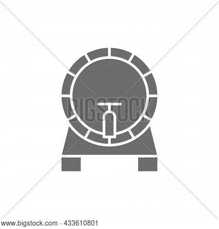 Beer Keg, Barrel Grey Icon. Isolated On White Background
