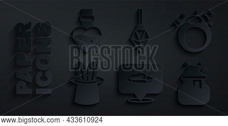 Set Magic Stone, Ring, Magician Hat And Rabbit Ears, Witch Cauldron, And Bottle With Potion Icon. Ve