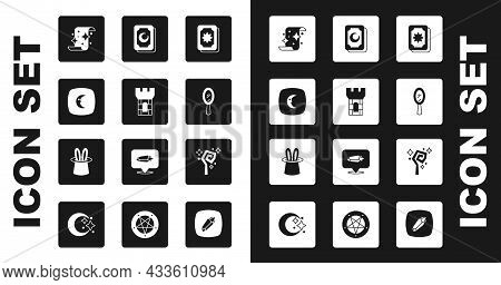 Set Tarot Cards, Castle Tower, Moon And Stars, Magic Scroll, Hand Mirror, Staff And Magician Hat Rab