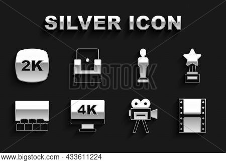 Set Screen Tv With 4k, Movie Trophy, Play Video, Retro Cinema Camera, Cinema Auditorium Screen, 2k U