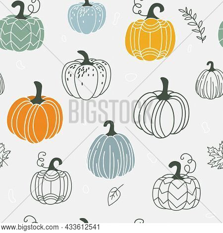 Pumpkin Seamless Pattern Vector Illustration. Gourds In Flat Simple Modern Doodle Style With Floral