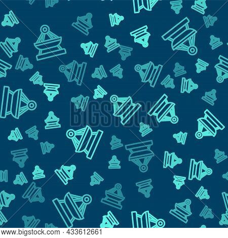 Green Line Boat Swing Icon Isolated Seamless Pattern On Blue Background. Childrens Entertainment Pla