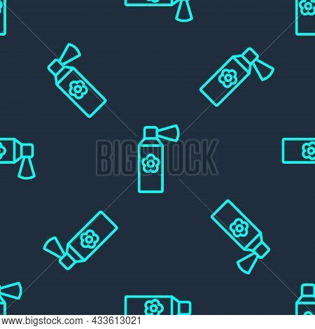 Green Line Air Freshener Spray Bottle Icon Isolated Seamless Pattern On Blue Background. Air Freshen
