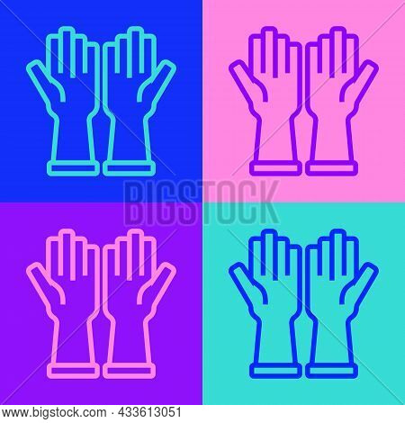 Pop Art Line Rubber Gloves Icon Isolated On Color Background. Latex Hand Protection Sign. Housework
