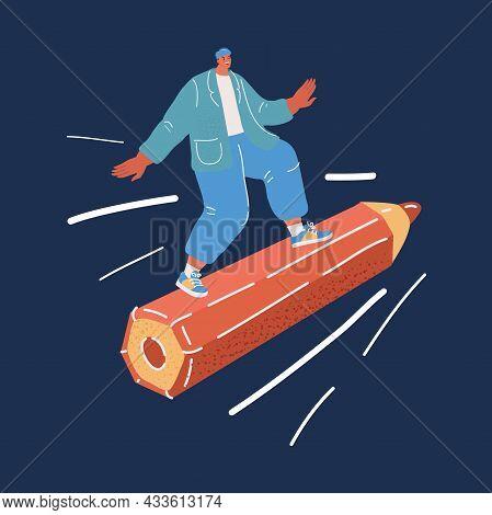 Vector Illustration Of Man On Big Pencil. Journalist, Blogger, Writer, Artist, Copywriter
