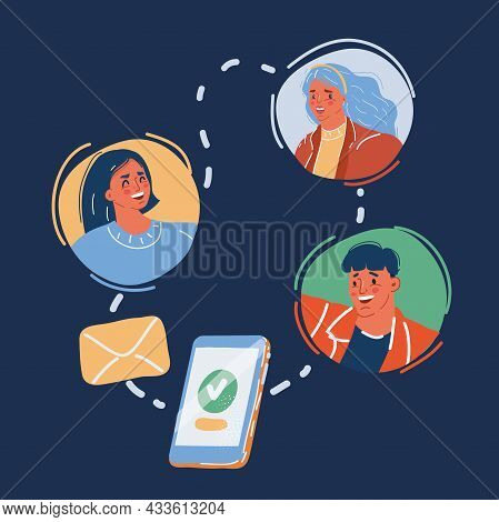Vector Illustration Of People Sending Messages To Friend Via Messenger Chat App. Instant Texting And