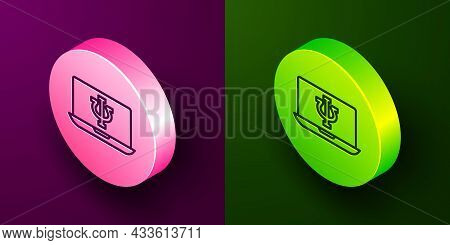 Isometric Line Online Psychological Counseling Distance Icon Isolated On Purple And Green Background