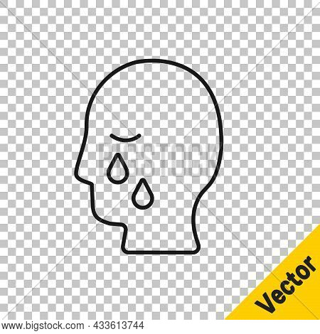 Black Line Man Graves Funeral Sorrow Icon Isolated On Transparent Background. The Emotion Of Grief,