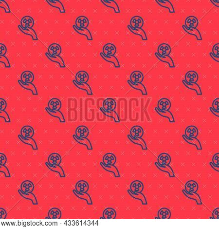 Blue Line Radioactive In Hand Icon Isolated Seamless Pattern On Red Background. Radioactive Toxic Sy