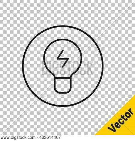 Black Line Light Bulb With Concept Of Idea Icon Isolated On Transparent Background. Energy And Idea