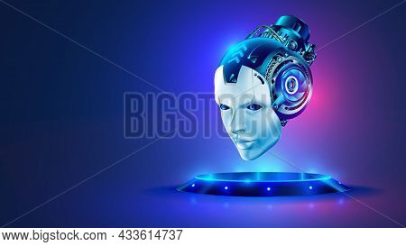 Ai Or Artificial Intelligence In Image Robot Head Hover Over Podium In Virtual Cyberspace. Humanoid