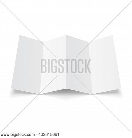 Mockup Blank Four Folded Fold Paper Leaflet, Flyer, Broadsheet, Flier, Follicle, Leaf A4 With Shadow