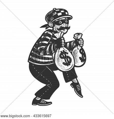 Thief With Stolen Bags Of Money Dollars Sketch Engraving Vector Illustration. T-shirt Apparel Print