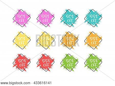 Set Of Colored Grunge Stickers With A 50 And 55 Percent Discount For Business, Sales, Advertising Pr