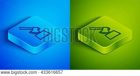 Isometric Line Wooden Axe In Stump Icon Isolated On Blue And Green Background. Lumberjack Axe. Axe S