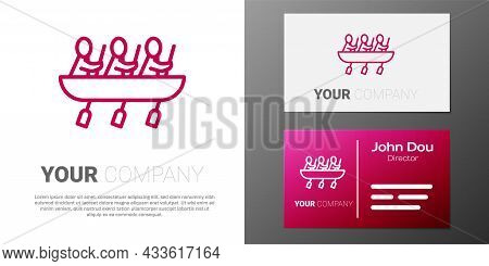 Logotype Line Canoe Rowing Team Sports Icon Isolated On White Background. Three Athletes With Oars R
