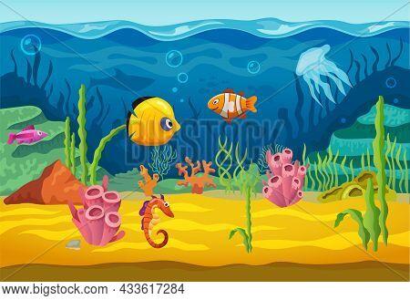 Sea Underwater And Fishes, Cartoon Vector Aquarium Background. Ocean Water And Coral Reef Undersea,