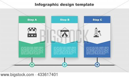 Set Ticket Box Office, Circus Tent And Striker Attraction With Hammer. Business Infographic Template