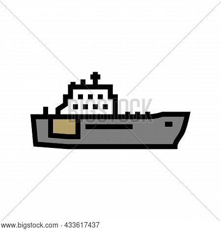 Navy Boat Color Icon Vector. Navy Boat Sign. Isolated Symbol Illustration