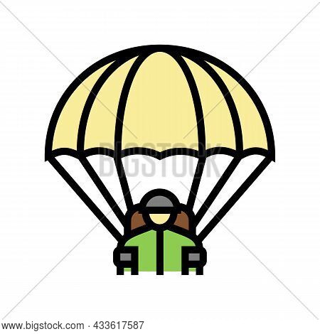 Parachute Soldier Color Icon Vector. Parachute Soldier Sign. Isolated Symbol Illustration