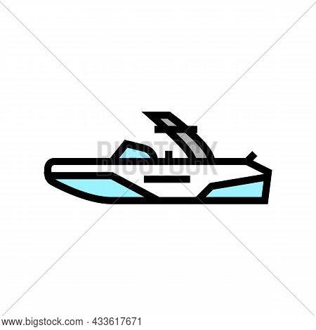 Wakeboard Ski Boat Color Icon Vector. Wakeboard Ski Boat Sign. Isolated Symbol Illustration