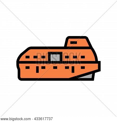 Lifeboat Boat Color Icon Vector. Lifeboat Boat Sign. Isolated Symbol Illustration