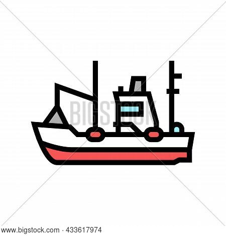 Fishing Boat Color Icon Vector. Fishing Boat Sign. Isolated Symbol Illustration